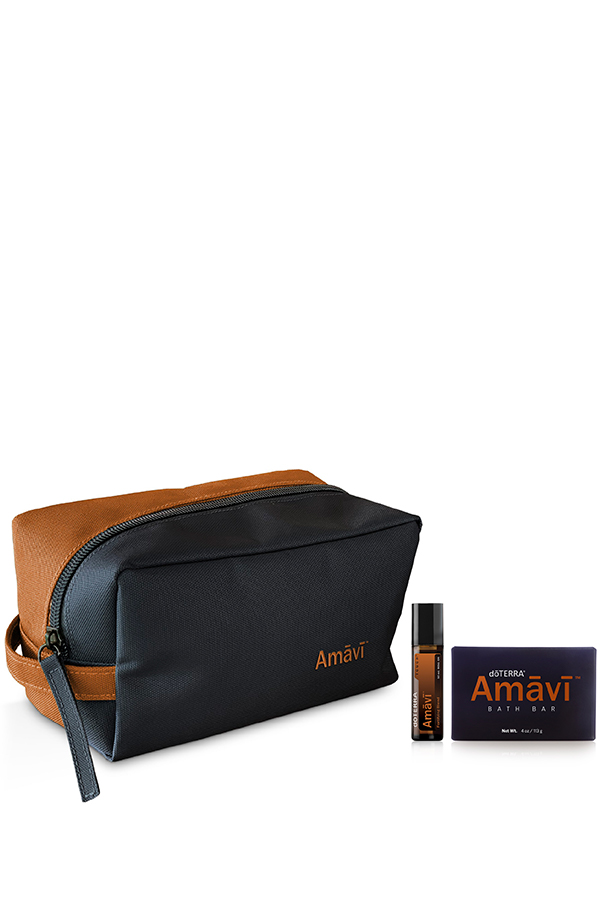 The Amavi Collection with a leather Amavi branded bag, Amavi Touch 10 mL, and Amavi Bath Bar.