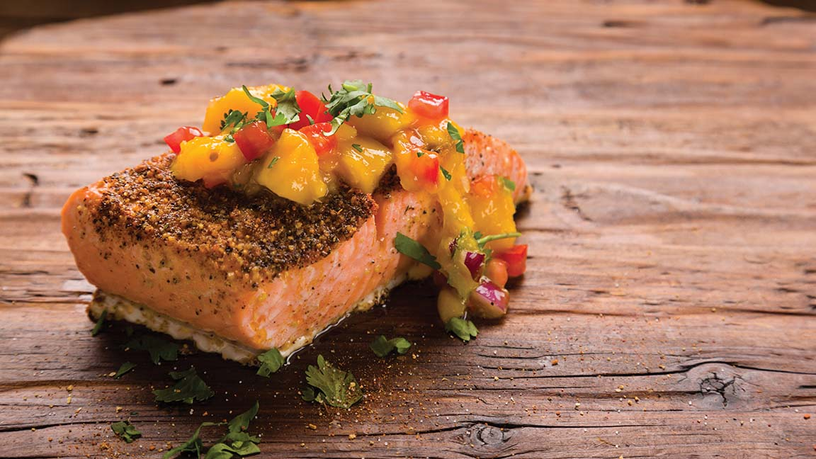 Image result for Blackened Salmon with Mango Salsa  doterra