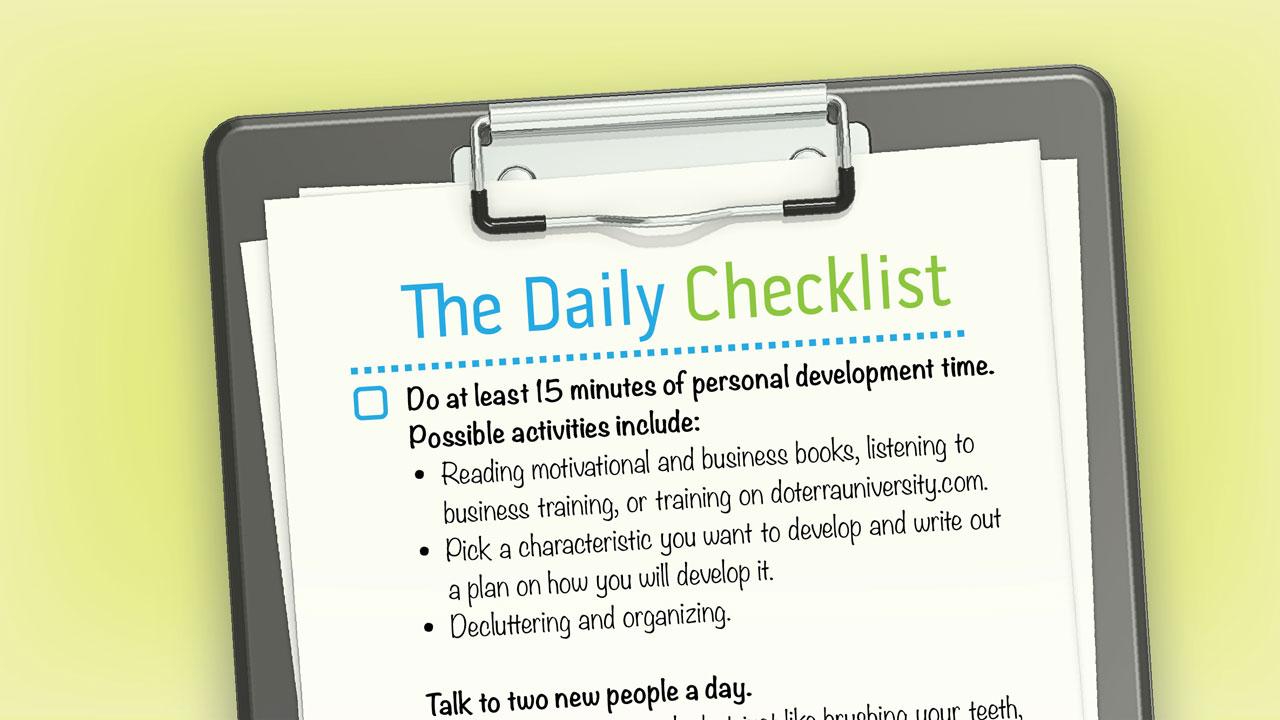 wellness advocate daily checklist dōterra essential oils